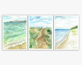 Michigan National Shoreline Set of 3 Watercolors - Lake Michigan, Sleeping Bear Dunes, Michigander, Up North, Traverse City, Print, Painting