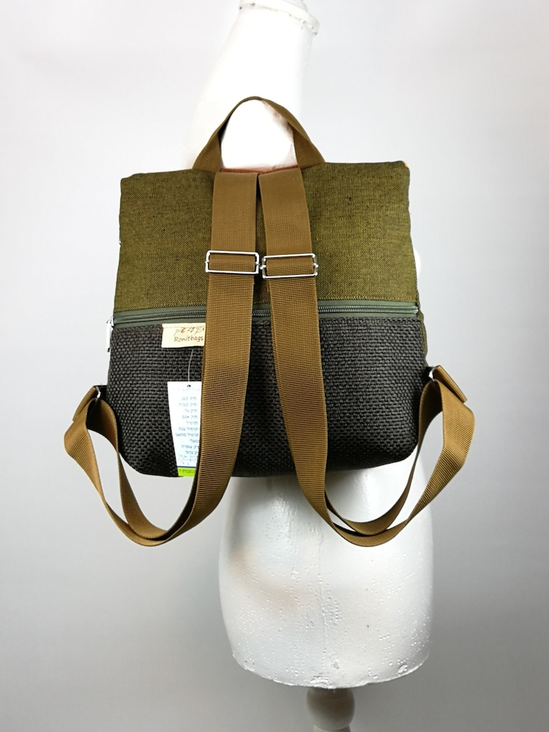 Holidays gift for her Light weight backpack Mini backpack purse Free shipping Beautiful small backpack Dark green and orange  backpack