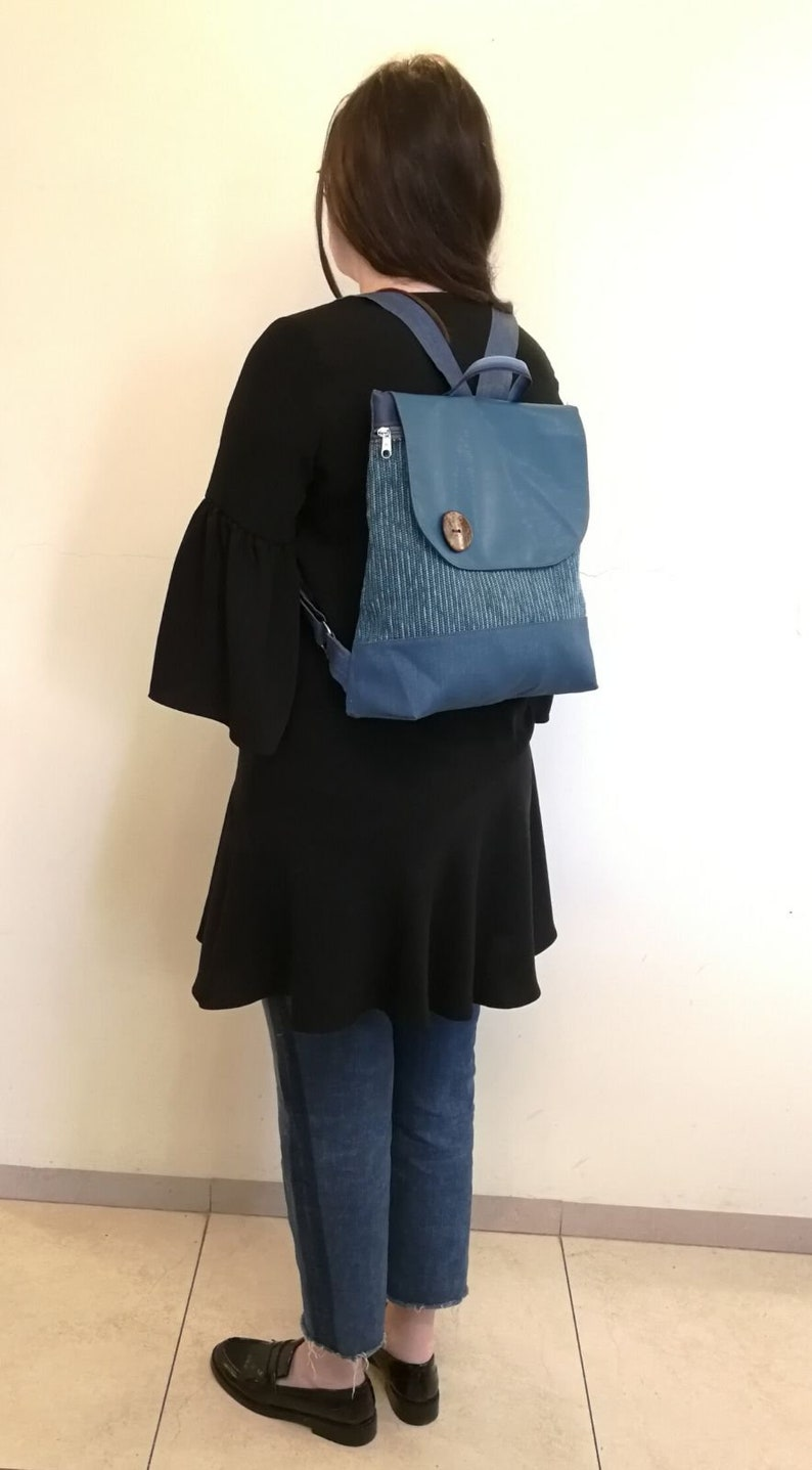 Every day backpack Women backpack Book backpack Ipad bag Eco vegan backpack Light weight  bag Blue turquoise backpack Free shipping