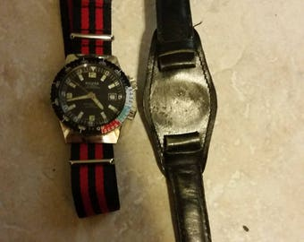 Sicura Watch, 1968, 23 Jewels, with original leather wrist band