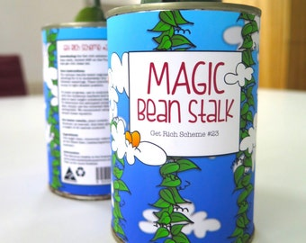 Instant download tin can template, DIY pot plant label, Magic bean pot plant label, magic bean stalk label for pot plant