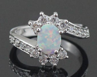 26c6e791ff White Fire Opal CZ Fashion Jewelry Women Opal Ring Size 6 7 8 9 wedding  Engagement Gift Sale Offer Free Shipping