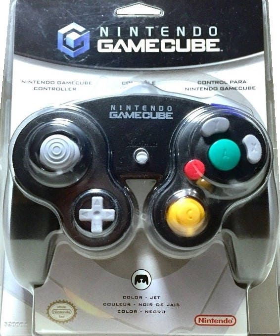 nintendo gamecube controller jet black great condition fast etsy