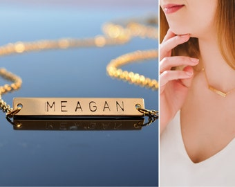 Personalized Gold bar necklace Engraved Personalized necklace name plate necklace Initial necklace Custom Name necklace Personalzied gifts