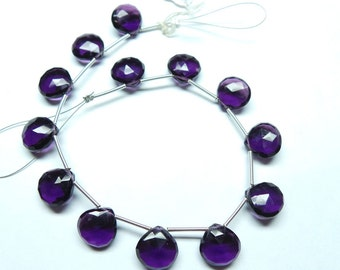 "Exquisite Pretty Amethyst Quartz 8"" Strand Extremely Finest High Quality 11 MM Size Faceted Heart Briolettes"
