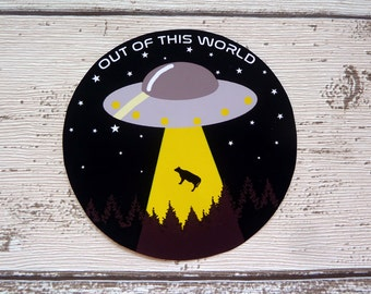 Out of this world, UFO, Gloss Vinyl Sticker, Alien, Flying Saucer, Abduction, Cow, Space, Sci fi, Cool Stickers, Laptop Stickers, Cute