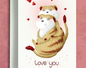 Love You Card - Happy Anniversary Card - Anniversary Card - Valentines Card - Meerkat Card