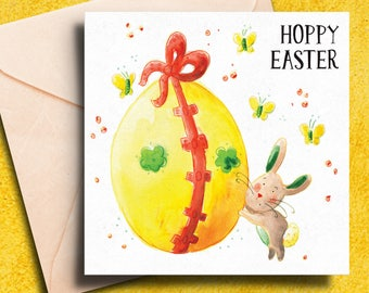 Easter Card - Easter Bunny Card - Hoppy Easter Card