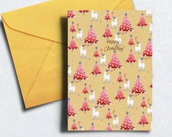 Christmas Card - Reindeer Christmas Card - Happy Christmas