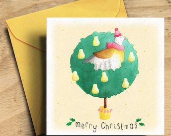 Christmas Card - Partridge Card - Partridge in A Pear Tree Card - Three Style Options