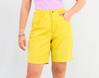 Yellow corduroy mom shorts vintage denim 90s high waist betmuda L Large
