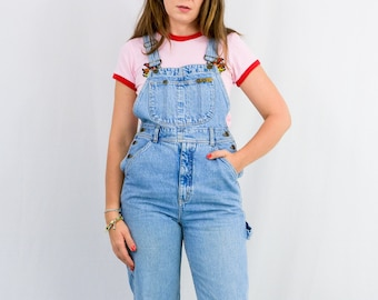 Vintage overalls blue denim jumpsuit jean 90s dungarees romper women S/M