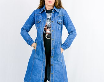 Vintage 70s denim coat jean trench blue women S/M