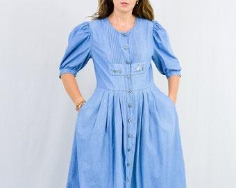 Vintage denim dress 90s blue jean short sleeves button up down XL