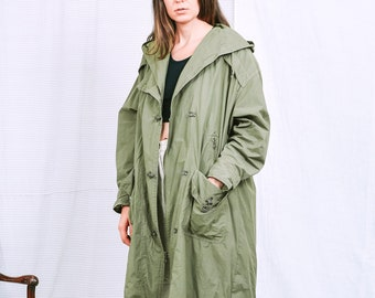 Military parka vintage 90s New Fast trench hooded jacket green coat khakis spring autumn XXL/XXXL