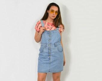 8a858923c91 Overall dress denim mini Vintage schoolgirl jean sleeveless romper pockets  90s button up blue M L