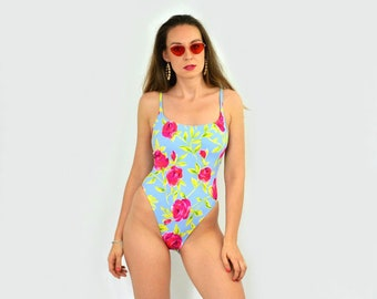 3694917bbecf39 Red roses swimsuit One piece Printed Vintage Backless bath swim suit  bathing floral L Large