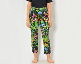 6196c6fc3a84 Floral pants Printed jeans retro trousers Vintage patterned straight fit  leg hipster 90's L Large