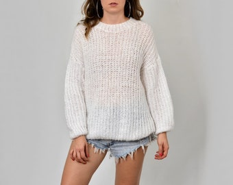 11070fb58 White sweater oversized pullover vintage chunky mesh XL XXL