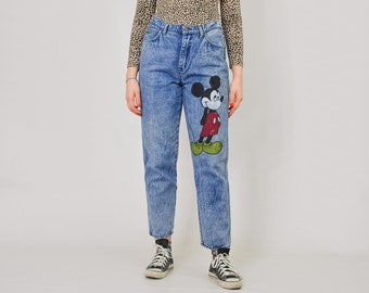 bd069fabb4a Mickey Mouse jeans Vintage 90's Rock Ford stonewashed DIY painted pants  Unique high waist denim acid wash W32 L Large