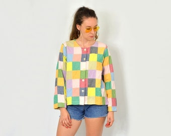 Patchwork Blazer Vintage checkered Rainbow 80s jacket tail coat lined multi color block XXL