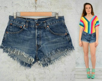 a8e57eea Denim shorts vintage Levis High waisted Cutoff jeans frayed ripped  distressed woman 1990's denim L large size 32
