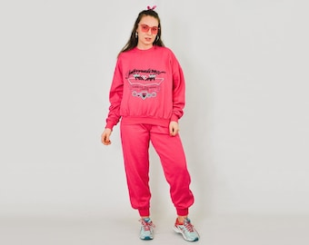 c811a82b3 Marco Polo Tracksuit Vintage 90's Pink Sport jogging Printed Vintage gym  hipster sweatshirt sweatpants running activewear XL