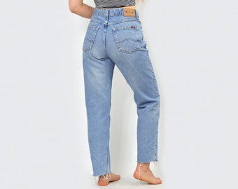 Mustang Jeans vintage mom pants waisted distressed cut off vintage trousers  straight fit leg hipster 1990 s W31 Large 42fc1b69b0