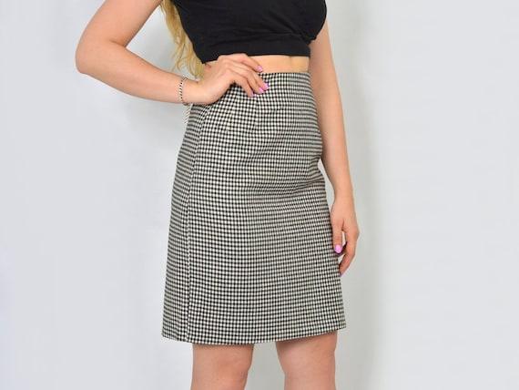 62cd2f3ec Checkered mini skirt black white plaid tartan Retro chessboard | Etsy
