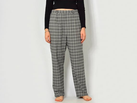 Loose Hipster Retro Xxxl Fit Trousers Pants White Super Black High Checkered Leg Vintage Waisted Nm8n0w