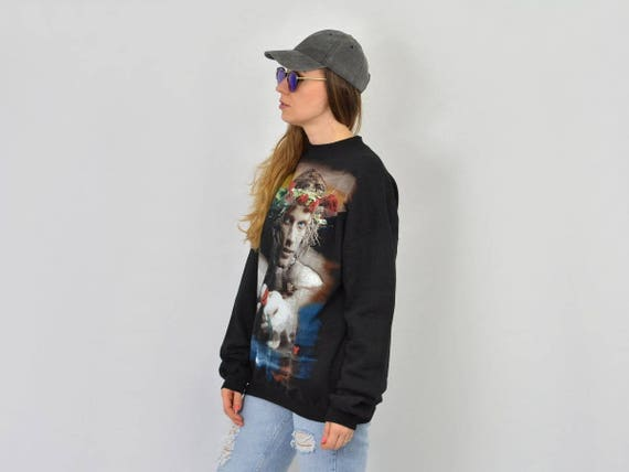 JOVI oversized printed JBJ 1990's rock slouchy Bon black sweatshirt hoodie XXL vintage 1HCxwqFd