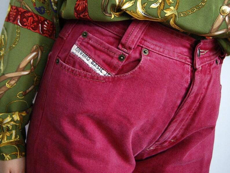 6d0628179130 Pantalones de jeans vintage rojo talle alto mamá pantalones cintura 28 de  mezclilla de mujer retro 1980