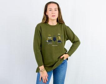 Vintage 90s green sweatshirt women teddy bearjumper long sleeve L Large