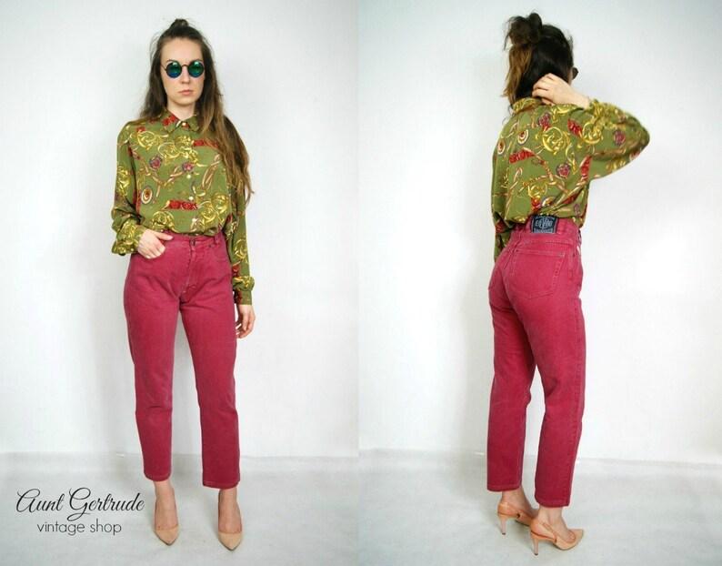 a865ddd8cd Pantalones de jeans vintage rojo talle alto mamá pantalones