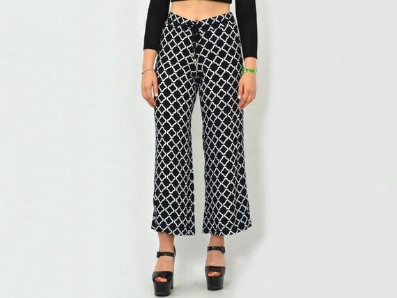 Patterned pants Vintage geometric White black Pri… - image 3