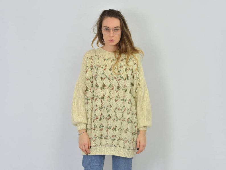 5cf986a5a Beige sweater Retro creamy Patterned pullover 80 s women