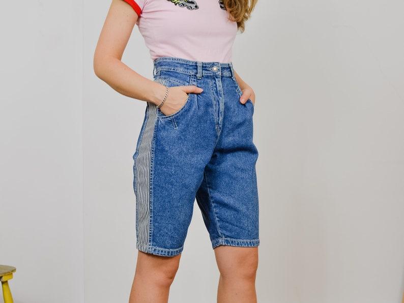 MEXX  shorts 90/'s W29 mom jeans vintage striped super high waist jeans blue jeans rocker women ML