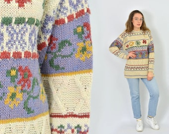 Patterned sweater retro pullover wool 80's striped floral beige women vintage Rustic M/L