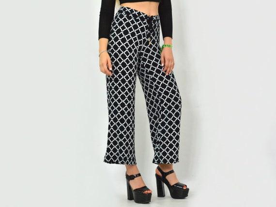 Patterned pants Vintage geometric White black Pri… - image 4