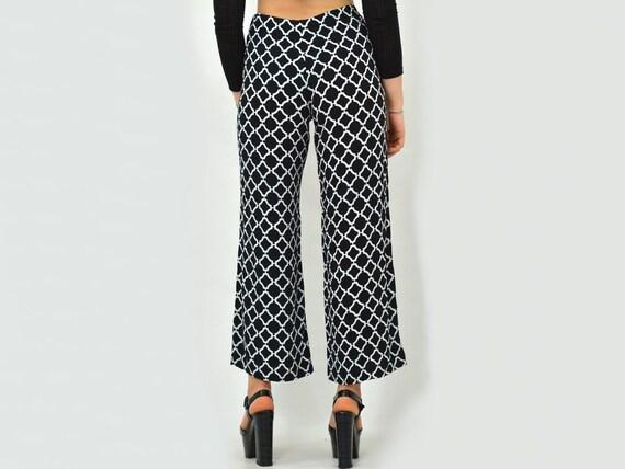 Patterned pants Vintage geometric White black Pri… - image 6