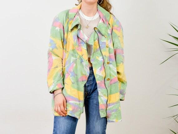 ESPRIT printed jacket bomber 90's puffy women Vintage black rainbow animals puffer L Large
