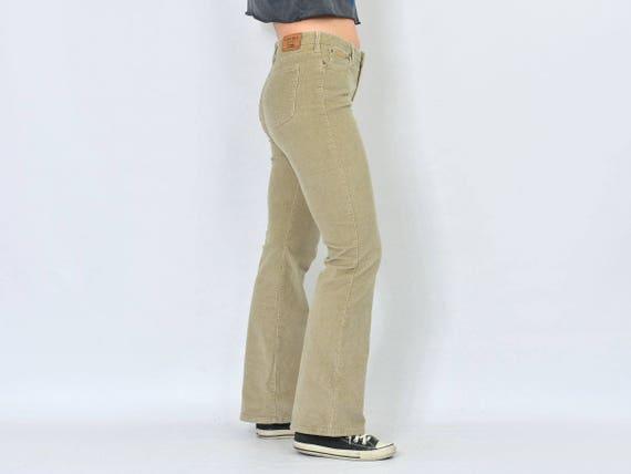 Velours côtelé Tommy Hilfiger pantalon hippie Jean bell bas jambe crème pantalon vintage 70 ' s Hippie femme M