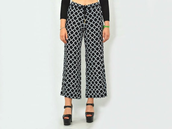Patterned pants Vintage geometric White black Pri… - image 1