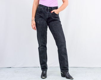 Black jeans vintage stonewashed high waist trousers 90s W32 L33 straight leg button fly L
