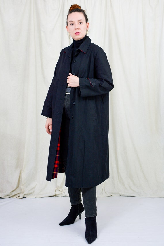 Black trench vintage coat lined spring women XL