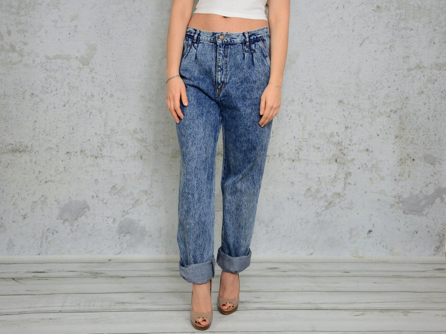 eb1ab89f7b Acid Wash High waisted jeans Mom Slouchy Patched Baggy pants