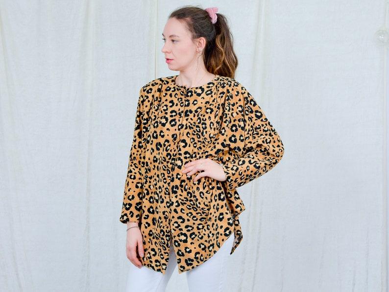 Leopard blouse velvet top vintage 80s padded shoulders animal pattern women size plus 4XL5XL