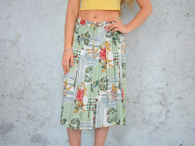 8a75cfe86 Pleated skirt boho summer ethnic floral print green Retro High | Etsy
