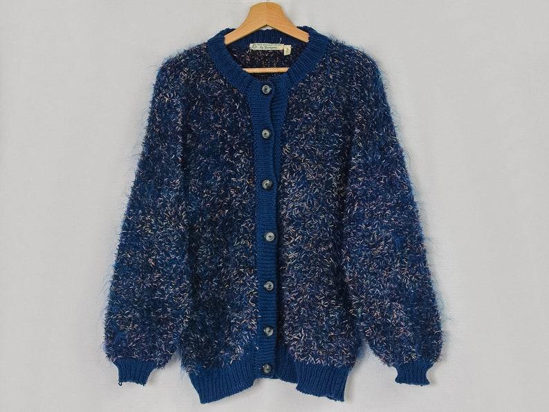 Shaggy sweater blue cardigan vintage melange warm hairy 90/'s women LXL
