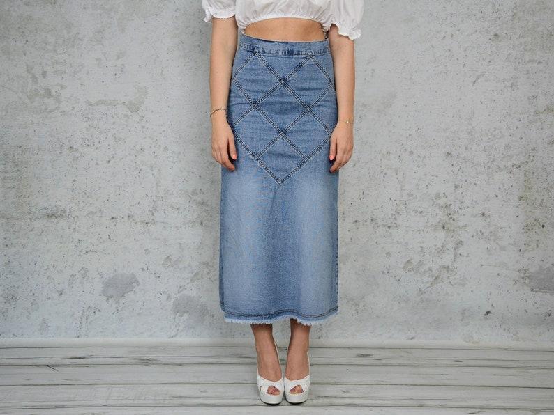 353e8e6a26 High waisted Skirt Jean maxi jeans frayed denim stitching